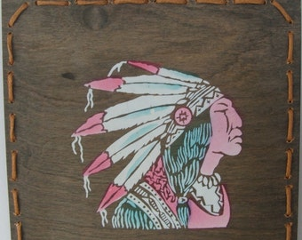 Vintage Native American Chief Wooden Wall Hanging