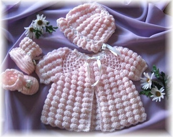 Crochet Pattern for Baby...... Keira Long or Short Sleeved Sweater Set and Afghan by Rebecca Leigh