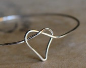 Rustic Sterling Heart Knotted Bangle - Love You Mom
