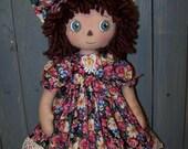 Primitive Raggedy Piper Rose Folk Art Doll Pattern ET