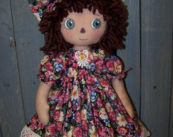 PDF/Primitive Raggedy Piper Rose Folk Art Doll Pattern ET