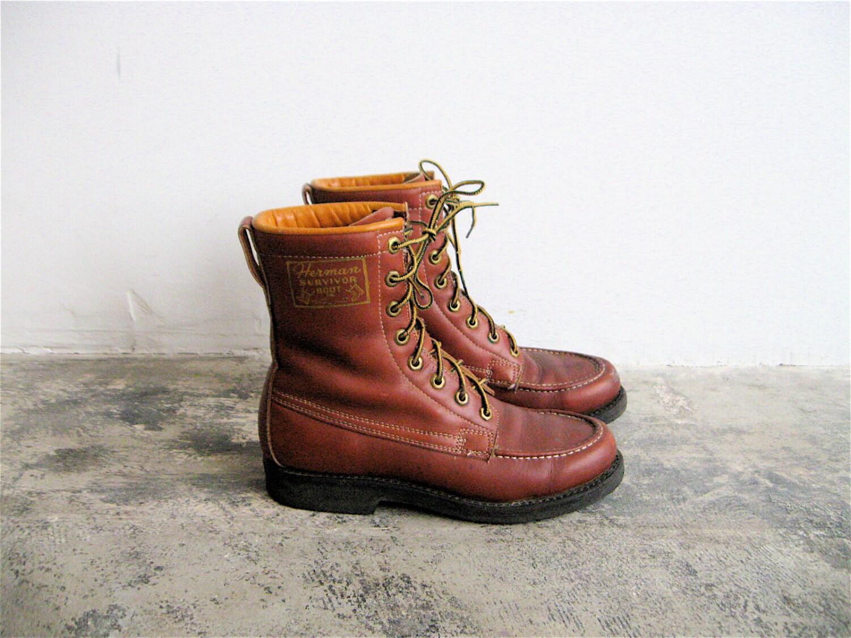 vintage herman survivor leather work boots s 6