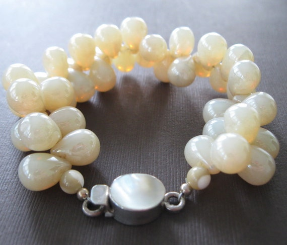 Creamy Large Glass Tear Drop Bubble Cluster Sterling Mother of Pearl Clasp Bracelet - Sample Sale
