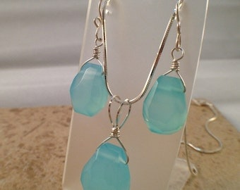 Unique Artisan Argentium Sterling Silver, Aqua Chalcedony Necklace and Earrings Set
