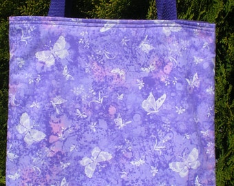 Butterfly Butterflies Tote Bag Flowers Purple Pink Handmade Purse Purple Limited