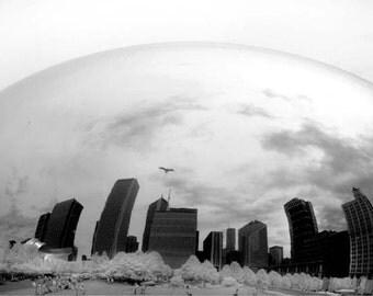 Cloud Gate Cityscape- 8x12 Fine Art Infrared Photograph
