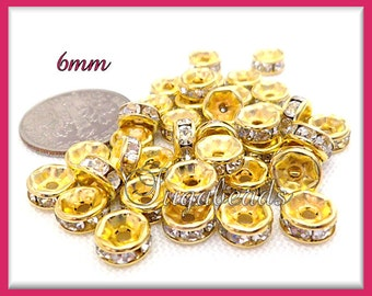 30 Bright Gold Crystal Rhinestone Rondelle Spacers 6mm
