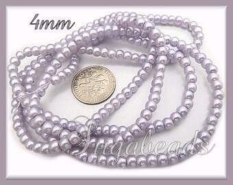 200 Soft Lilac Purple Glass Pearls 4mm