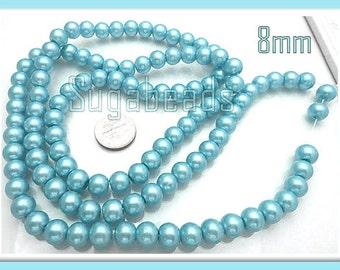 50 Light Blue Round Glass Pearl Beads 8mm (GPLB1)