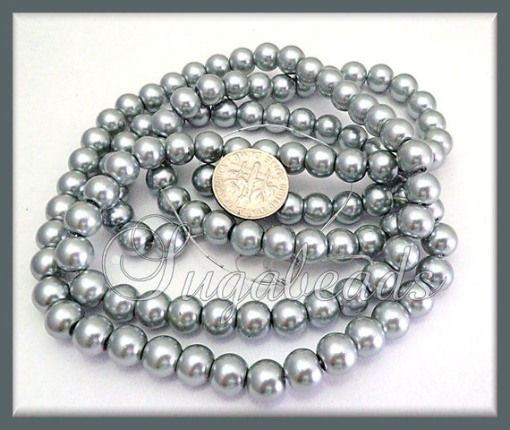 Grey Pearl Beads: 50 Silver Grey Glass Pearl Beads 8mm