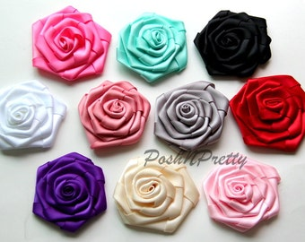"3"" Folded Double Sided satin Rose - Set of 5 - CHOOSE COLORS"