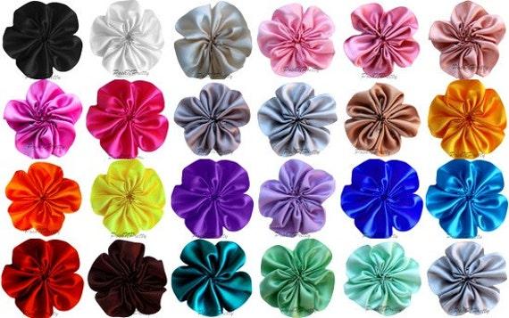 12 PCS Cluster Satin Flowers - LOOSE- pick COLORS