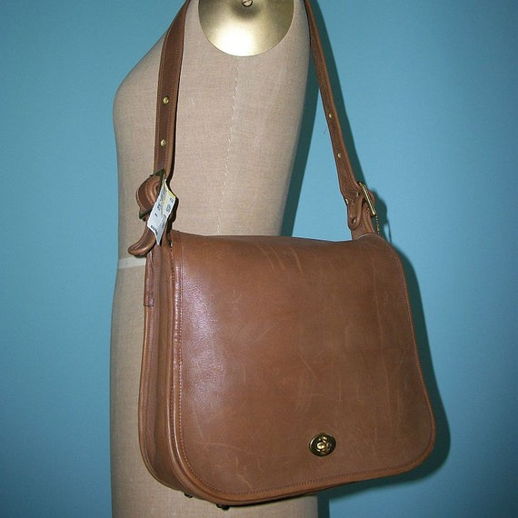 RESERVED NOS Vintage 70s COACH Purse / 1970s Stewardess Handbag / British Tan Leather