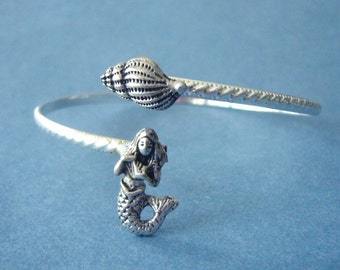 Silver Mermaid cuff bracelet with a seashell wrap style