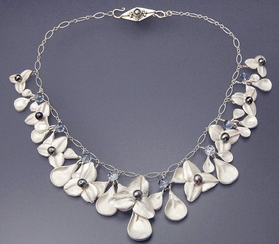Silver Blue Pearl and Crystal Flower Blue Ophelia Necklace