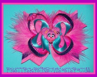 Large Deluxe Abby Cadabby Stacked Boutique Hair Bow Clip in Pink, Purple, and Turquoise