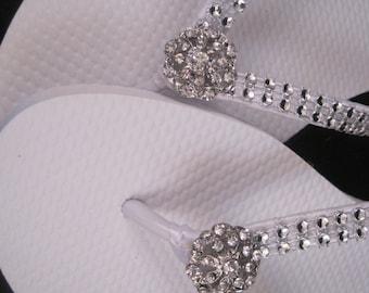 Katrina Bridal Flip Flops, Custom Flip Flops, Rhinestone Dancing Shoes, Bridal Sandals, Wedding Flip Flops Beach Wedding Bridal Shoes