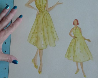 vintage fashion plate  art design original watercolor dress pattern 1957