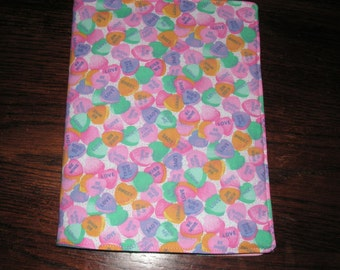 Hearts candy Valentine novelty handmade fabric Bookcover Journal cover book
