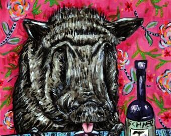 Pig art PRINT  JSCHMETZ modern abstract folk pop art american ART gift wine
