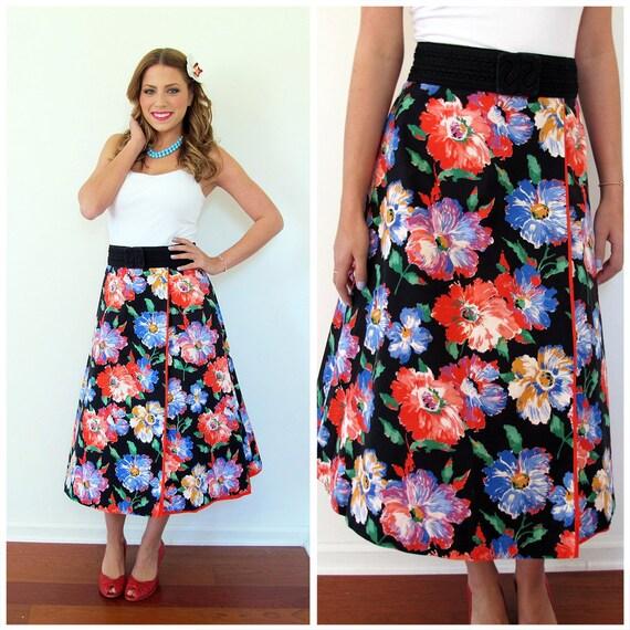 80s Black Floral Reversible A-Line Wrap Skirt, Size MEDIUM