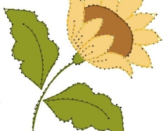 Flora Sunflower with Leaves Embroidery Pattern for Greeting Cards