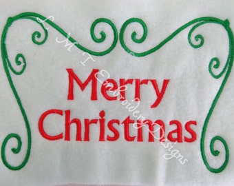 Merry Christmas  Embroidery Designs - 5x7 Hoops