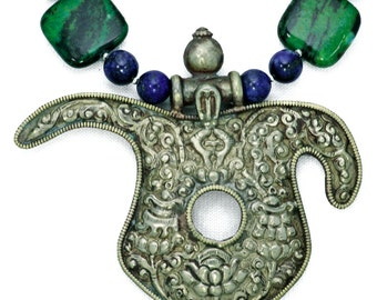 Tibetan Tribal Amulet & Azurmalachite
