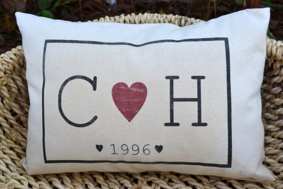 Personalized Couple gift pillow, personalized valentine gift idea, monogram pillow wedding gift heart pillow with date. Cotton anniversary