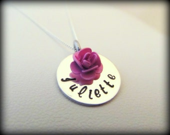 Hand Stamped Jewelry - Maid of Honor -  Bridesmaid - Flower Girl Necklace - Personalized Sterling Silver Name Necklace with Rose Dangle