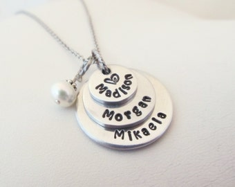 Personalized Hand Stamped 3 Tier Necklace - Mom gift - Nana gift - Grandma gift - Engraved Necklace - Shower Gift - Mommy Jewelry