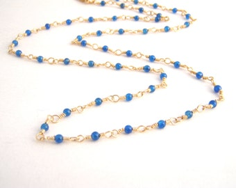 Cobalt Blue Apatite Strand Necklace, Rosary Style, Gold, Dainty, Wire Wrapped