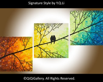 """Rainbow color abstract painting red yellow orange green blue Birds on Tree branch wall art Wall Decor """"Harmony"""" by QIQIGALLERY"""