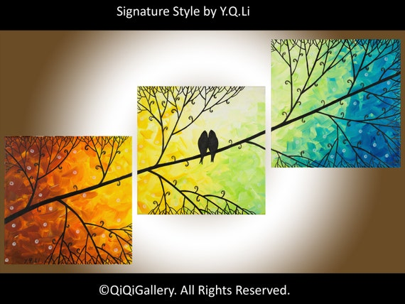 "art painting, red,yellow, orange, green blue wall art, Birds on Tree branch wall art Wall Decor gift for couple ""Harmony"" by QIQIGALLERY"