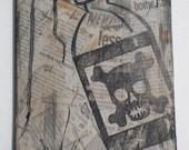 Decoupage Newspaper Artwork / Poison