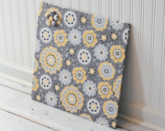 Wall Mount Magnet Board 16inx16in No Frame - Yellow and gray bursts fabric