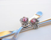SHABBY CHIC Wedding Cake Server And Knife Filagree FLOWER Art Decorated Pink Glass, Silver Swarovski Crystal Wire Wrapped
