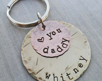 Personalized Dad Keychain - Love You Daddy- Father Dad - Hand-Stamped Custom Names - Fathers Day Gift - New Daddy Gift -K27