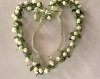Heart Wreath Floral Home Decor Shabby Chic pale Yellow Ivory faux Roses Country handmade Send Flowers Cottage gift under 40