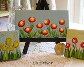 "Hand Painted Mini 2"" x 4"" Painting - Red Poppy Field on Blue"