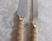 Burlap Rustic Wedding Cake Knife Set- Personalized Engraved Initials Vintage Wooden Hearts-Shabby Chic  Country Cake Cutters