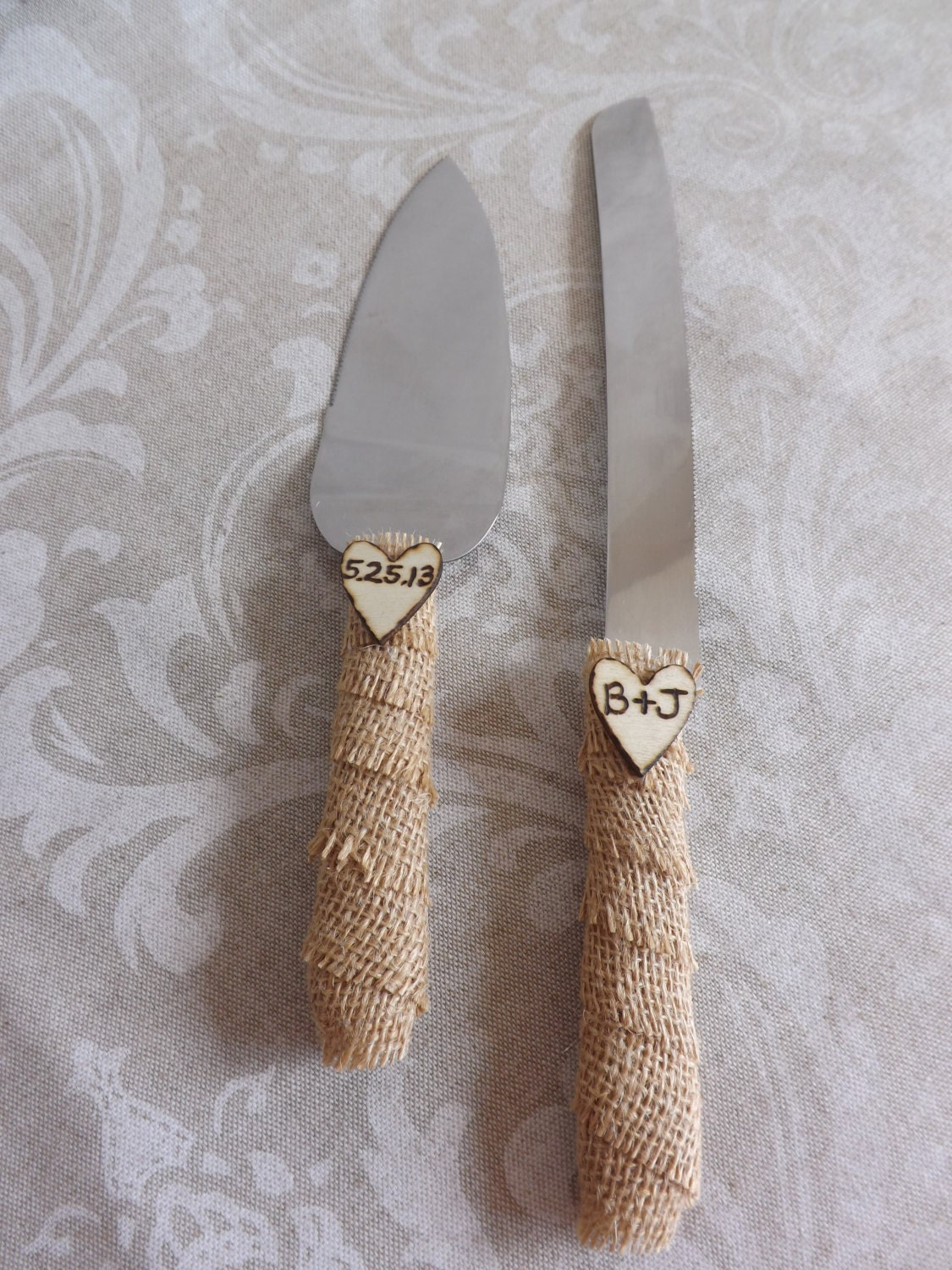 Burlap Rustic Wedding Cake Knife Set by creations4brides