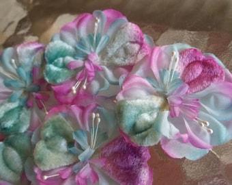 6 Variegated Pastel Pink & Aqua NOS Millinery Flowers...Trim...Velvet Petals...Grp 3