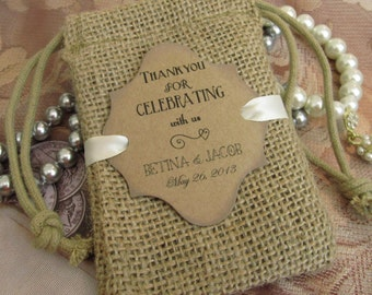 Wedding - Burlap favor bags - Personalized - Thank you for celebrating with us