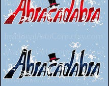 INSTANT DOWNLOAD Abracadabra set 2 with 4 digital clipart graphics RABBITS playing on Abracadabra magic word magician