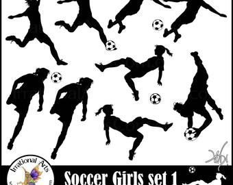 Girl Soccer Players - digital clipart graphics 9 png files {Instant Download}
