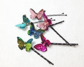 Butterfly Bobby Pins - 6 Hair Pins - Tiny Fairy Wings - Flowergirl Hair - Pink Blue Green