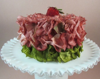 Fake Cake Strawberry Faux Flower Petal Cake Shades of Rose and Green with Strawberry on Top Birthday Cake Display Cake Wedding Shower Cake