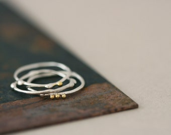 Sterling Silver Stack Rings with 22ct Gold beads - Spora Rings