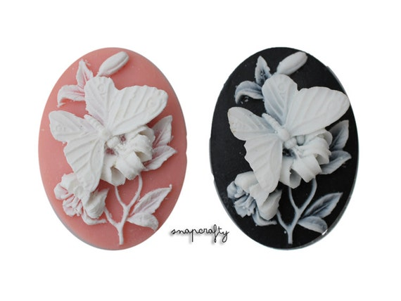 2pc 40x30mm butterfly cameo, choose your colors: white on peach, white on black